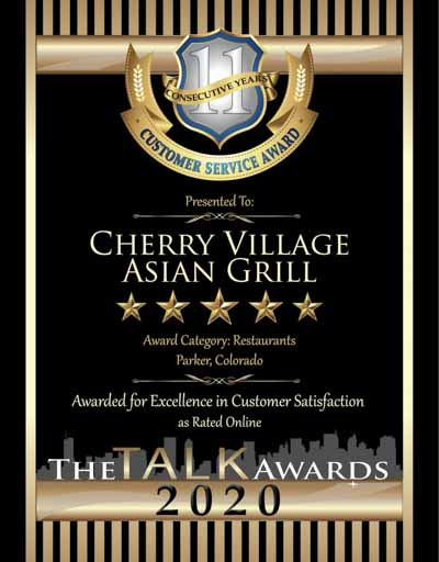 Cherry Village Asian Grill wins 2020 Talk Award