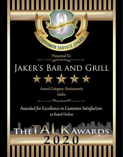 Jaker's Bar and Grill wins 2020 Talk Award