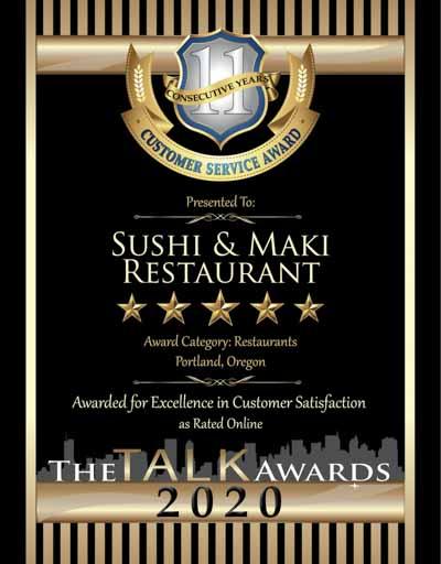 Sushi & Maki Restaurant wins 2020 Talk Award