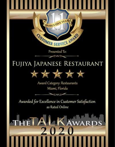 Fujiya Japanese Restaurant wins 2020 Talk Award