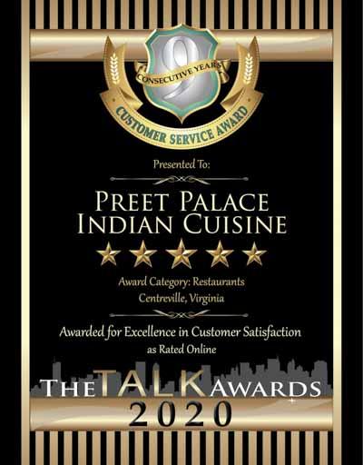 Preet Palace Indian Cuisine wins 2020 Talk Award