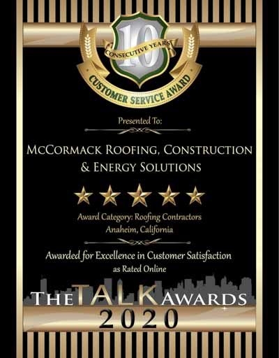 Talk 2020 Award Winner, McCormack Roofing, Construction and Energy Solutions
