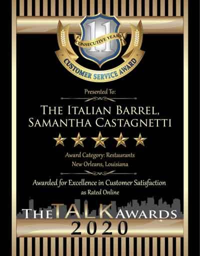 The Italian Barrel wins 2020 Talk Award