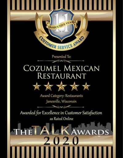 Cozumel Mexican Restaurant wins 2020 Talk Award