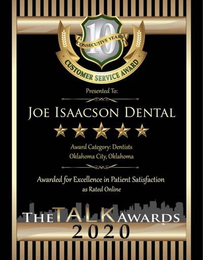 Joe Isaacson Dental wins 2020 Talk Award
