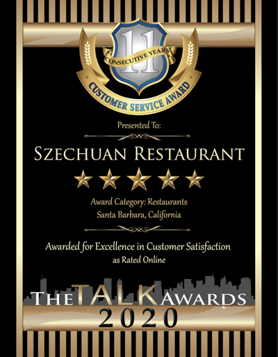 Szechuan Restaurant wins 2020 Talk Award