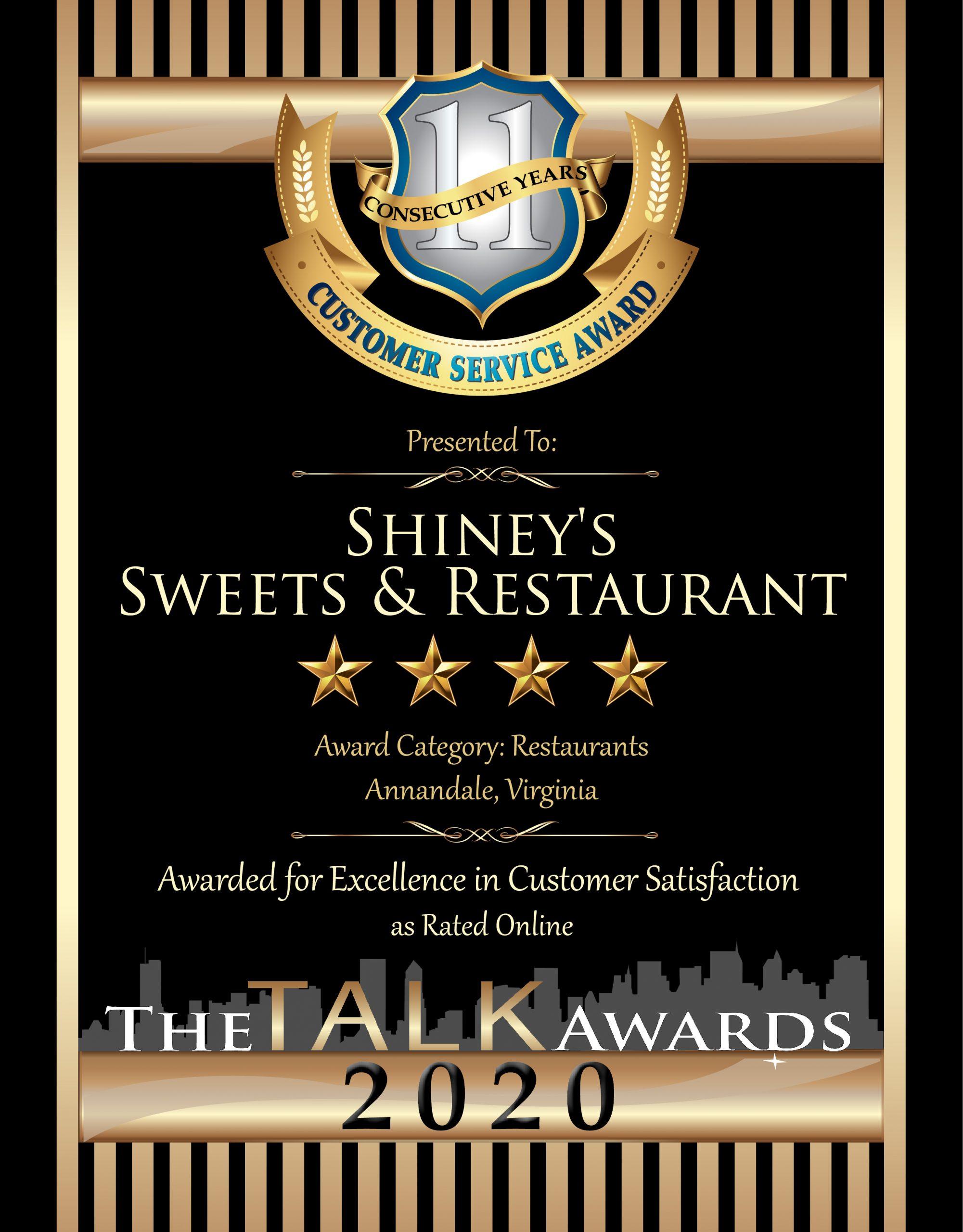 Shiney's Sweets & Restaurant wins 2020 Talk Award