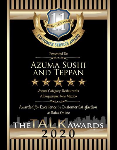 AZUMA SUSHI AND TEPPAN wins 2020 Talk Award