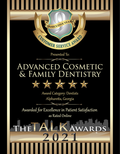 Advanced Cosmetic & Family Dentistry wins 2021 Talk Award