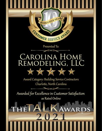 Carolina Home Remodeling wins 2021 Talk Award