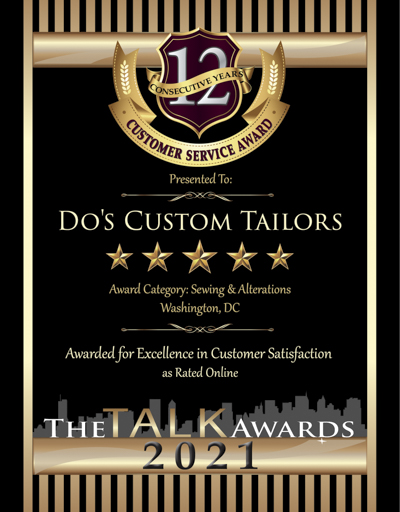 Do's Custom Tailors wins 2021 Talk Award