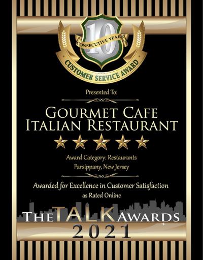 Gourmet Cafe Italian Restaurant wins 2021 Talk Award