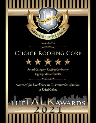 Choice Roofing Corp wins 2021 Talk Award
