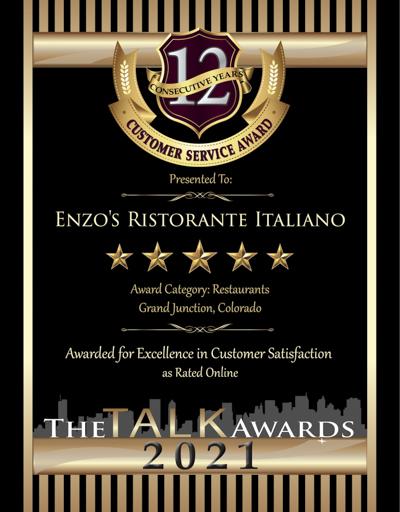 Enzo's Ristorante Italiano wins 2021 Talk Award