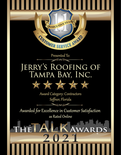 Jerry's Roofing Of Tampa Bay, Inc. wins 2021 Talk Award