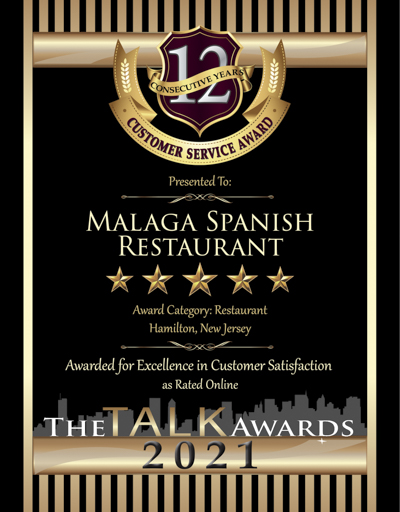 Malaga Spanish Restaurant wins 2021 Talk Award