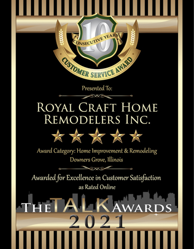 Royal Craft Home Remodelers Inc wins 2021 Talk Award