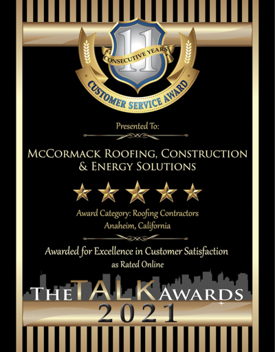 McCormack Roofing, Construction & Energy Solutions wins 2021 Talk Award