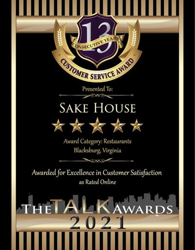 Sake House wins 2021 Talk Award