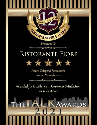 Ristorante Fiore wins 2021 Talk Award