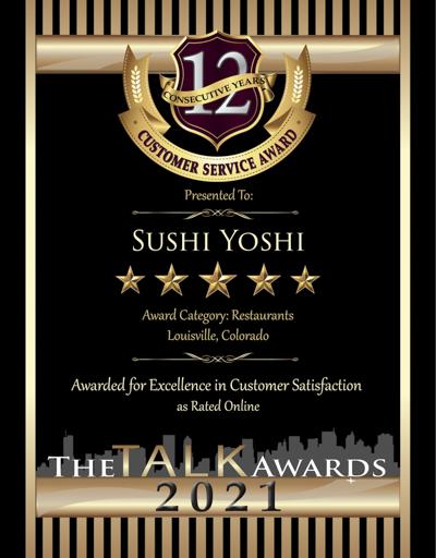 Sushi Yoshi wins 2021 Talk Award