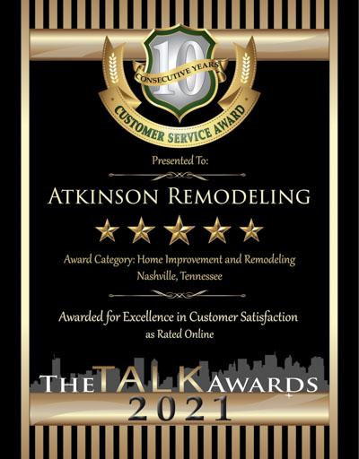 Atkinson Remodeling wins 2021 Talk Award