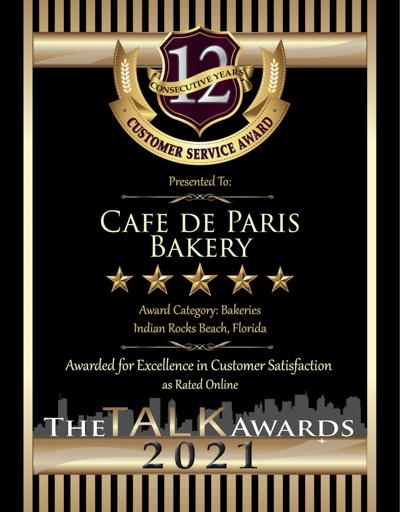Cafe de Paris Bakery wins 2021 Talk Award