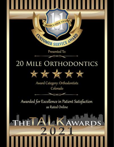 20 Mile Orthodontics, LLP wins 2021 Talk Award
