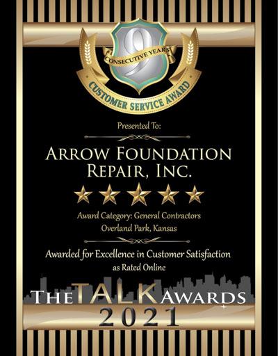 Arrow Foundation Repair, Inc. wins 2021 Talk Award