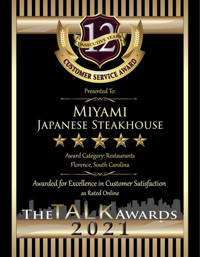 Miyami Japanese Steakhouse wins 2021 Talk Award