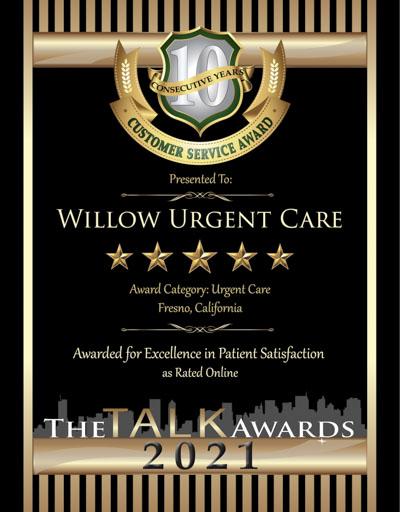 Willow Urgent Care wins 2021 Talk Award
