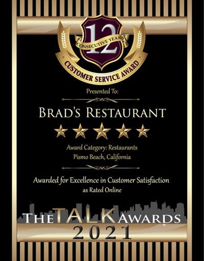 Brad's Restaurant wins 2021 Talk Award