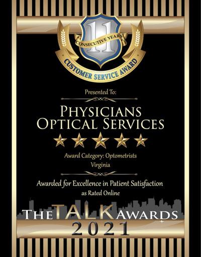Physicians Optical Services wins 2021 Talk Award