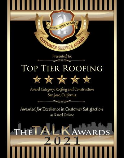 Top Tier Roofing wins 2021 Talk Award